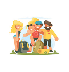 cheerful friends guys and girls vector image