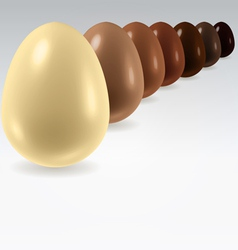 Chocolate egg row on white vector image vector image