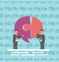 Communication two businessmen with speech bubble vector