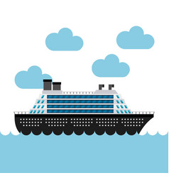 Cruise boat in the sea vector