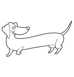 Cute cartoon long dachshund vector