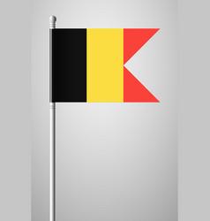 Flag of belgium national flag on flagpole vector