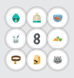 flat icon animal set of nutrition box bird prison vector image