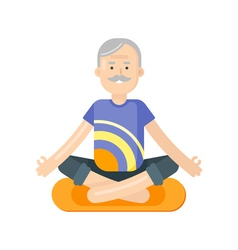 Flat style of senior man doing yoga vector