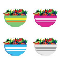 fruit in bowl set vector image vector image