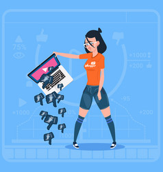 Girl hold laptop with thumb down modern video vector