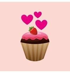 Heart cartoon cupcake chocolate pink cream and vector