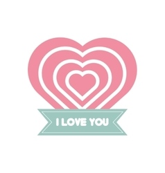 I love you greeting heart style vector