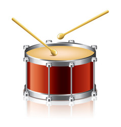 object drum drumsticks vector image vector image