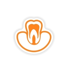 Paper sticker on white background tooth in gums vector
