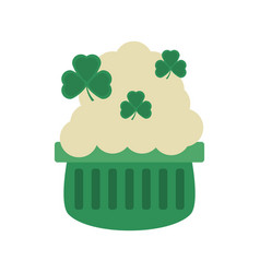 Pot beer shamrock foam st patricks day vector