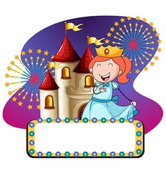 Princess and castle at night vector image vector image