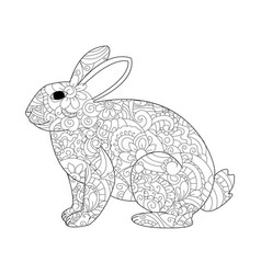 Rabbit coloring for adults vector