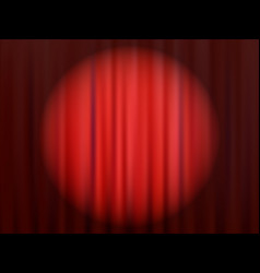 Red closed theater curtain with reflector vector