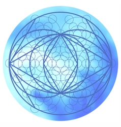 Sacred geometry symbol on colorful mesh background vector