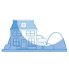 silhouette house next to mountains and trees vector image