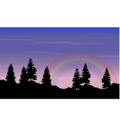 Silhouette of spruce on hill with rainbow vector