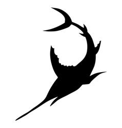 Silhouette of sword fish vector