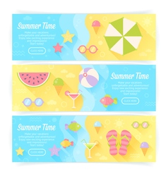 Summer banners with flat travel elements vector