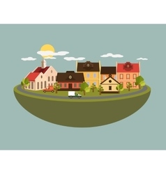 Summer landscape in flat style - vector
