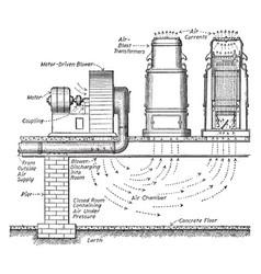 Transformer installation vintage vector