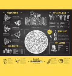 Vintage chalk drawing pizza menu design vector