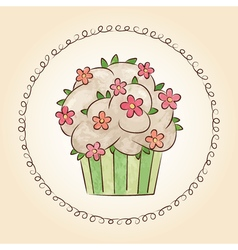 Watercolor cupcake with flowers and leaves vector