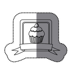 White emblem muffin with strawberry icon vector