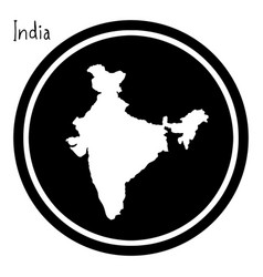 white map of india on black circle vector image