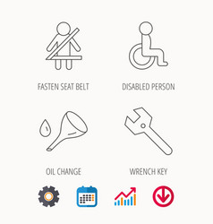 wrench key oil change and fasten seat belt vector image
