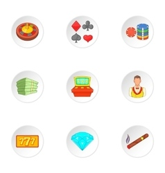 Gambling house icons set cartoon style vector