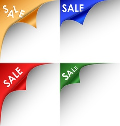 Collection of colorful bent corners sale vector image