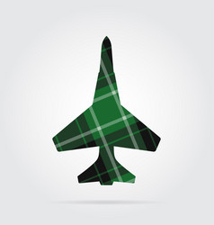 Green black tartan isolated icon - fighter vector