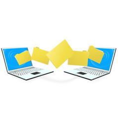 Laptop computers transferring files vector