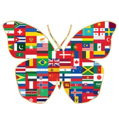 Butterfly made of flags vector