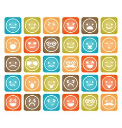 Set of color smiley icons isolated vector