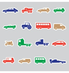 Simple cars color stickers collection eps10 vector