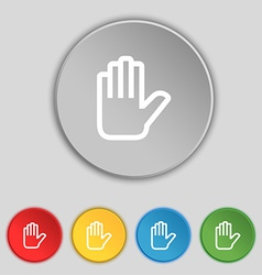 Hand print stop icon sign symbol on five flat vector