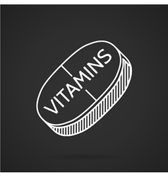 White line icon for vitamin tablet vector