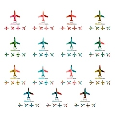 Set of color airplane logo icons vector image