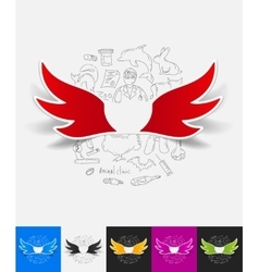 Wing paper sticker with hand drawn elements vector