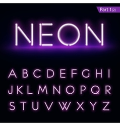 Realistic neon alphabet purple blue glowing font vector