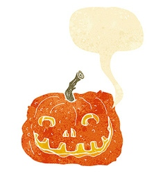 Cartoon pumpkin with speech bubble vector