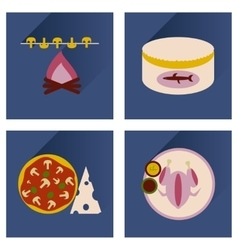 Modern flat icons collection shadow food vector