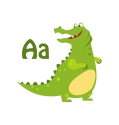 Alligator funny alphabet animal vector