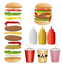 Ingredients for a hamburger vector