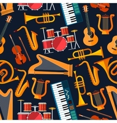 Seamless flat musical instruments pattern vector