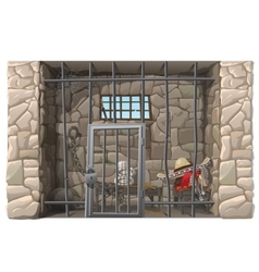 Cowboy prisoner sleeps in a prison cell vector