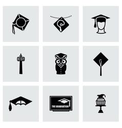 Academic cap icon set vector image