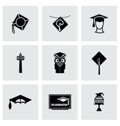 Academic cap icon set vector image vector image